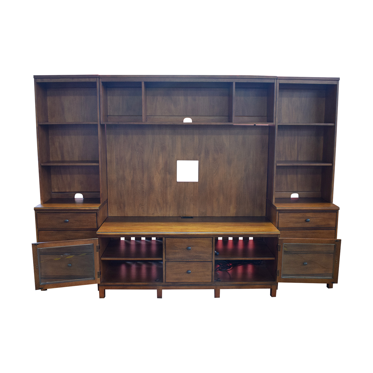 Ethan Allen Wood Media Center with Drawers and Shelves Ethan Allen