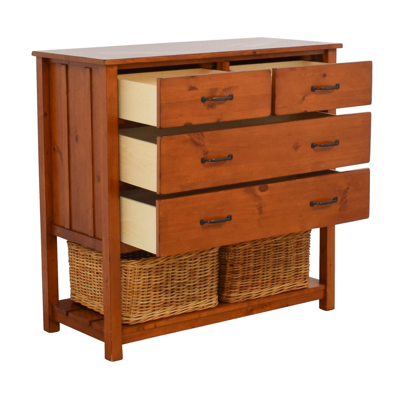 76 off pottery barn kids pottery barn kids camp four drawer dresser with wicker baskets storage. Black Bedroom Furniture Sets. Home Design Ideas