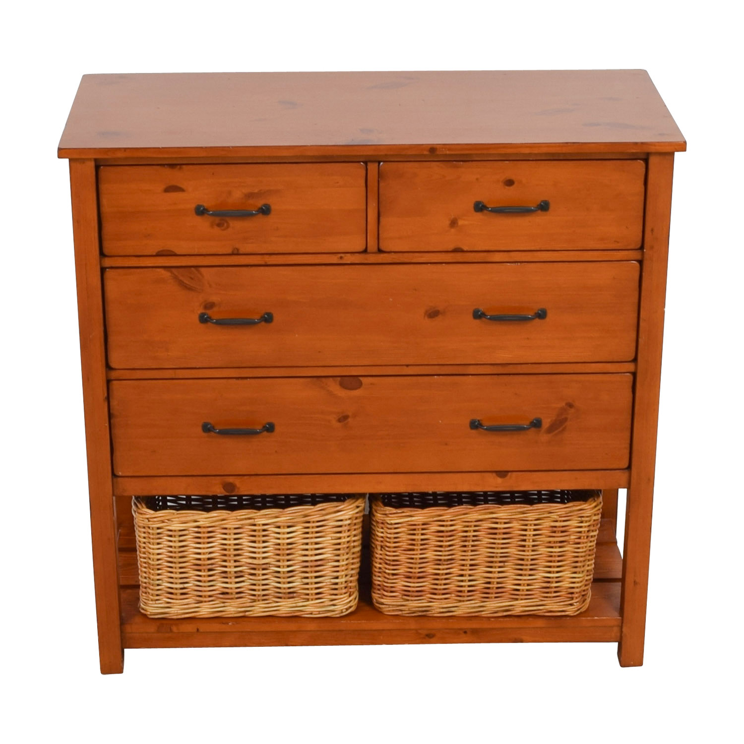 Pottery Barn Kids Camp Four-Drawer Dresser with Wicker Baskets sale