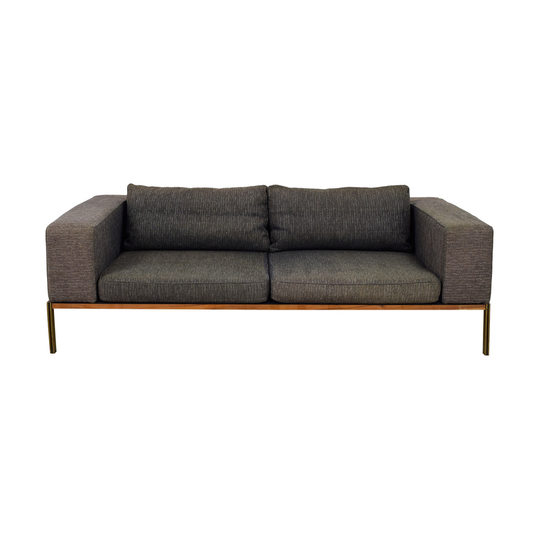 Organic Modernism Organic Modernism Grey Two-Cushion Sofa for sale