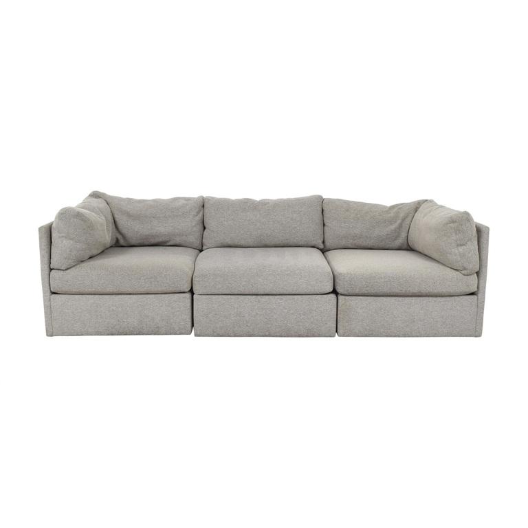 ABC Carpet & Home ABC Carpet & Home Milo Baughman Grey Three-Cushion Sofa for sale