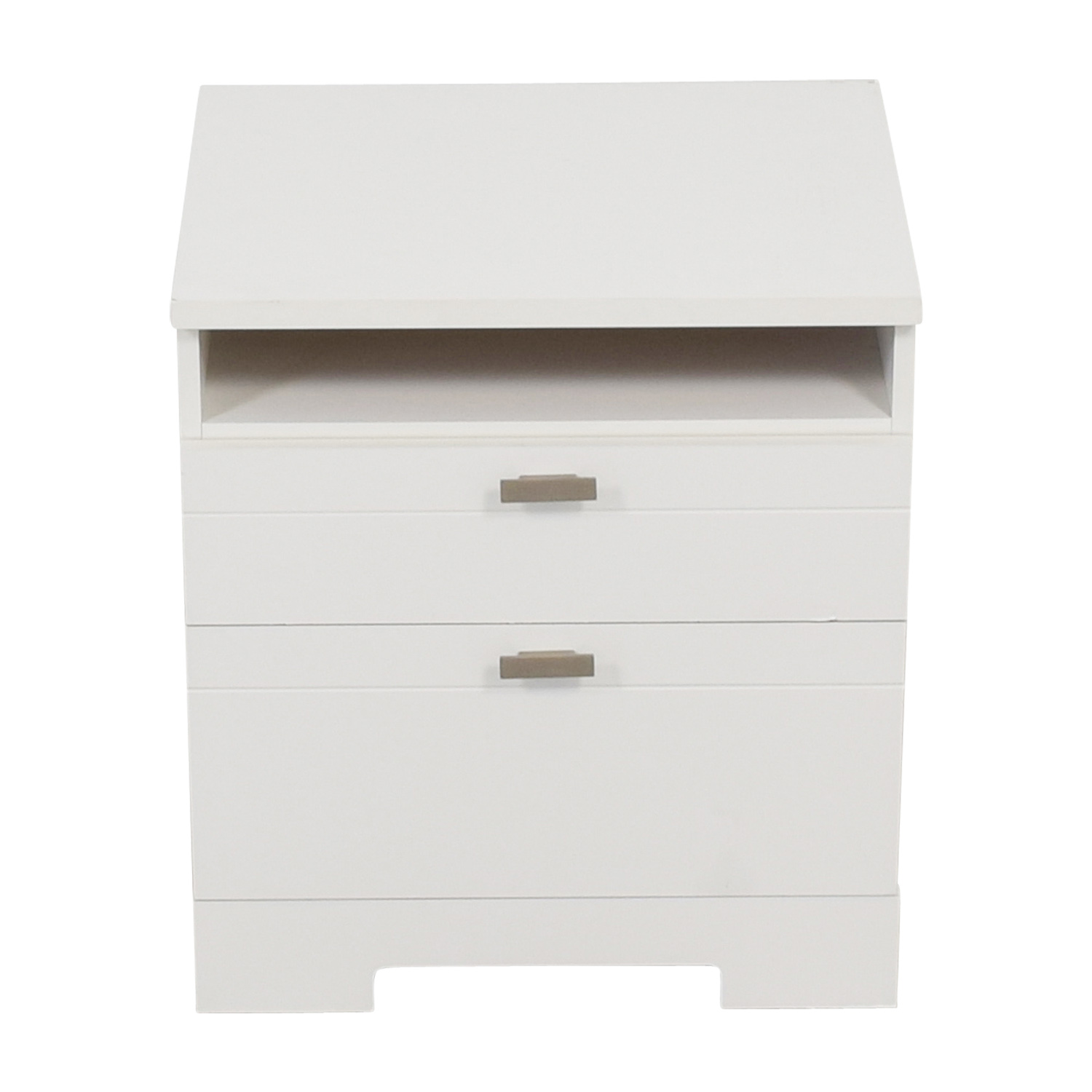 South Shore Reevo South Shore Reevo White Two-Drawer Nightstand with Cord Catcher End Tables