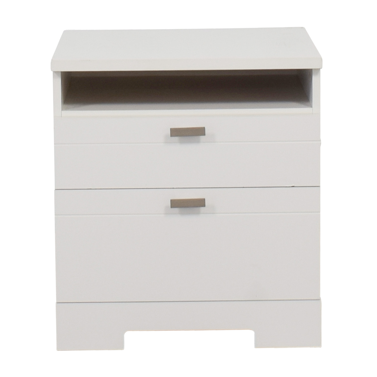 South Shore Reevo White Two-Drawer Nightstand with Cord Catcher / End Tables