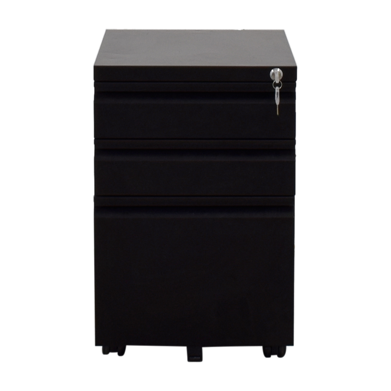 DEVAISE Three-Drawer Black Metal File Cabinet with Lock DEVAISE
