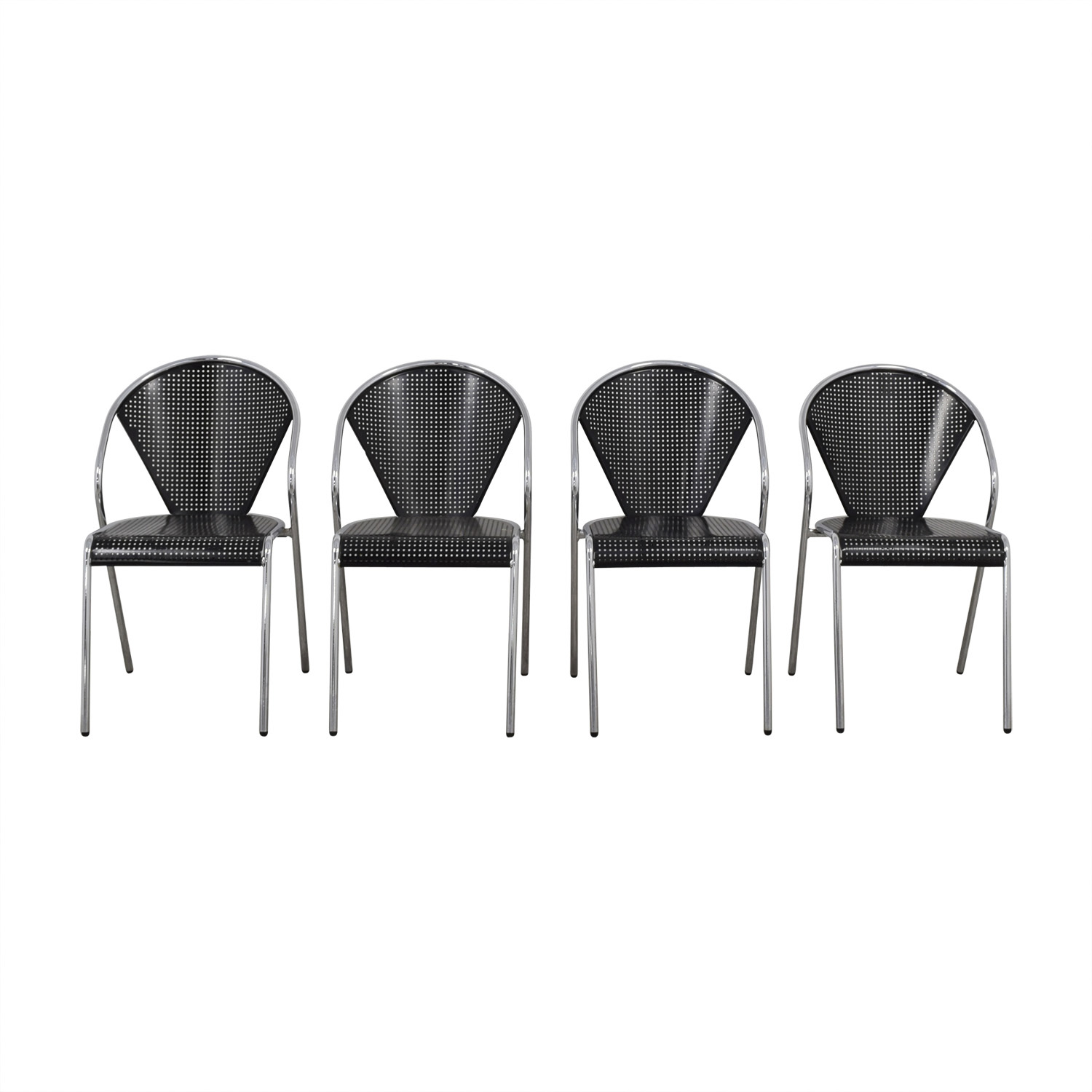 Manhattan Home Design Protech Black Steel Stacking Chairs / Dining Chairs