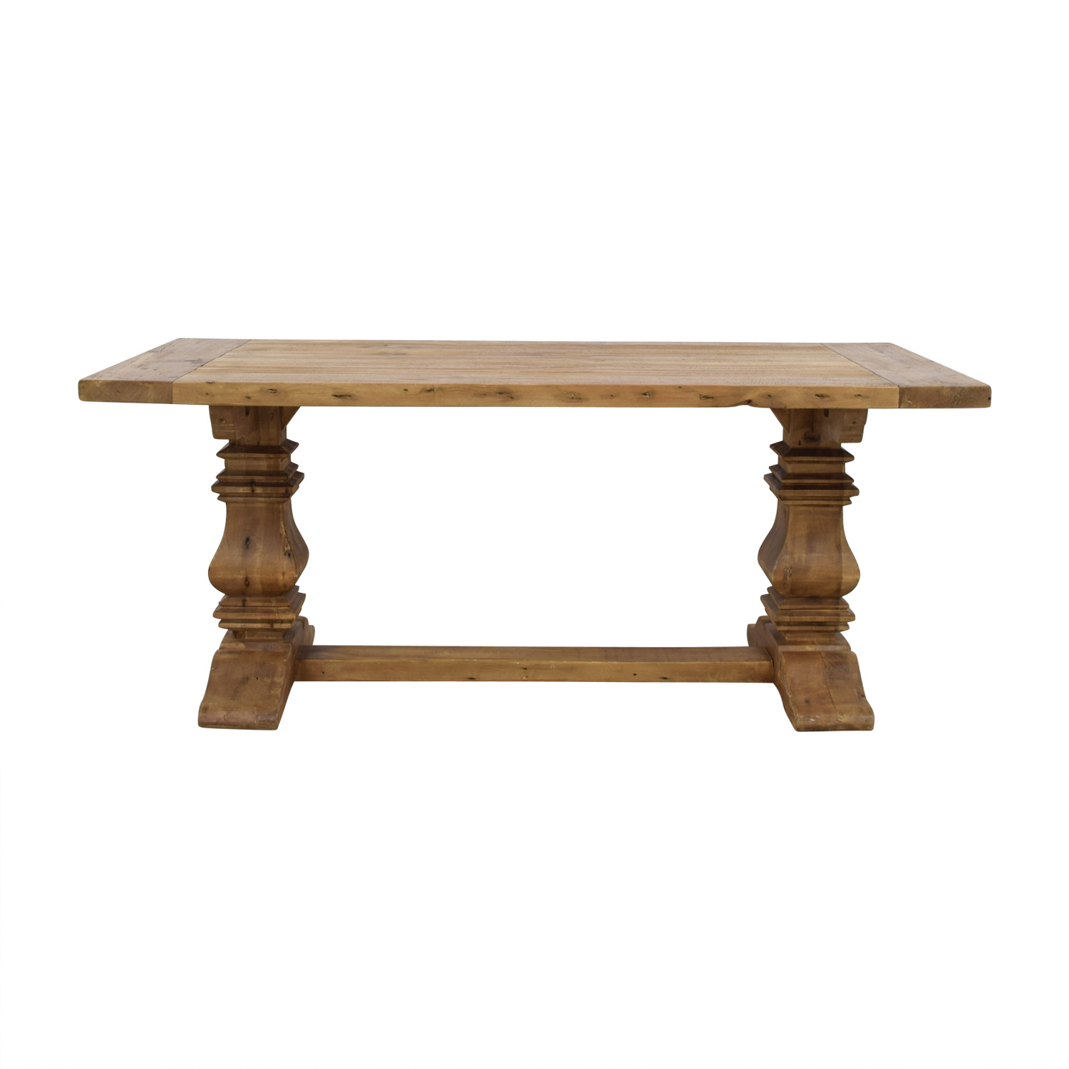 63% OFF - Restoration Hardware Restoration Hardware Salvaged Wood Trestle  Extendable Dining Table / Tables