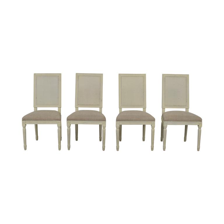 buy Restoration Hardware Vintage French Square Cane Back Upholstered Chairs Restoration Hardware