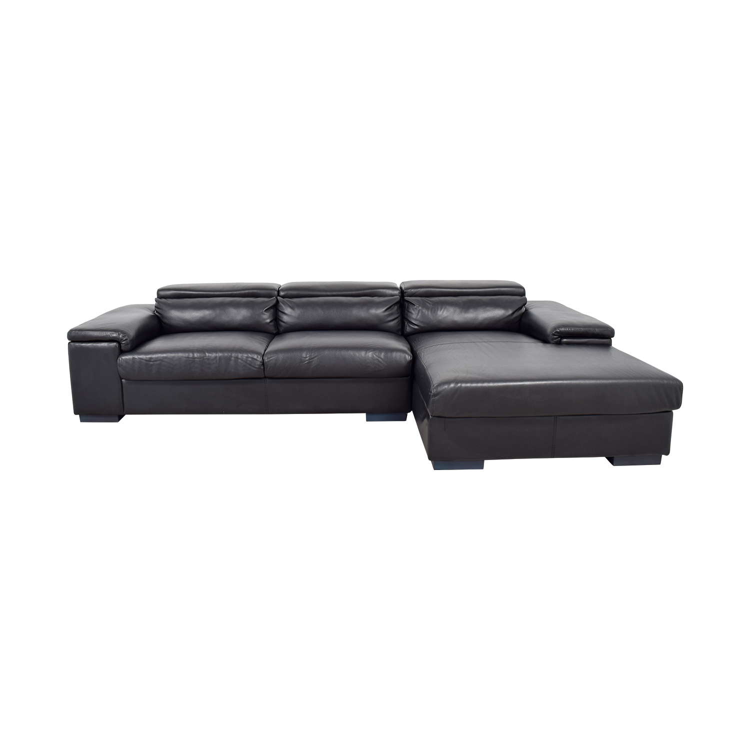 shop Black Leather Right Chaise Sectional  Classic Sofas