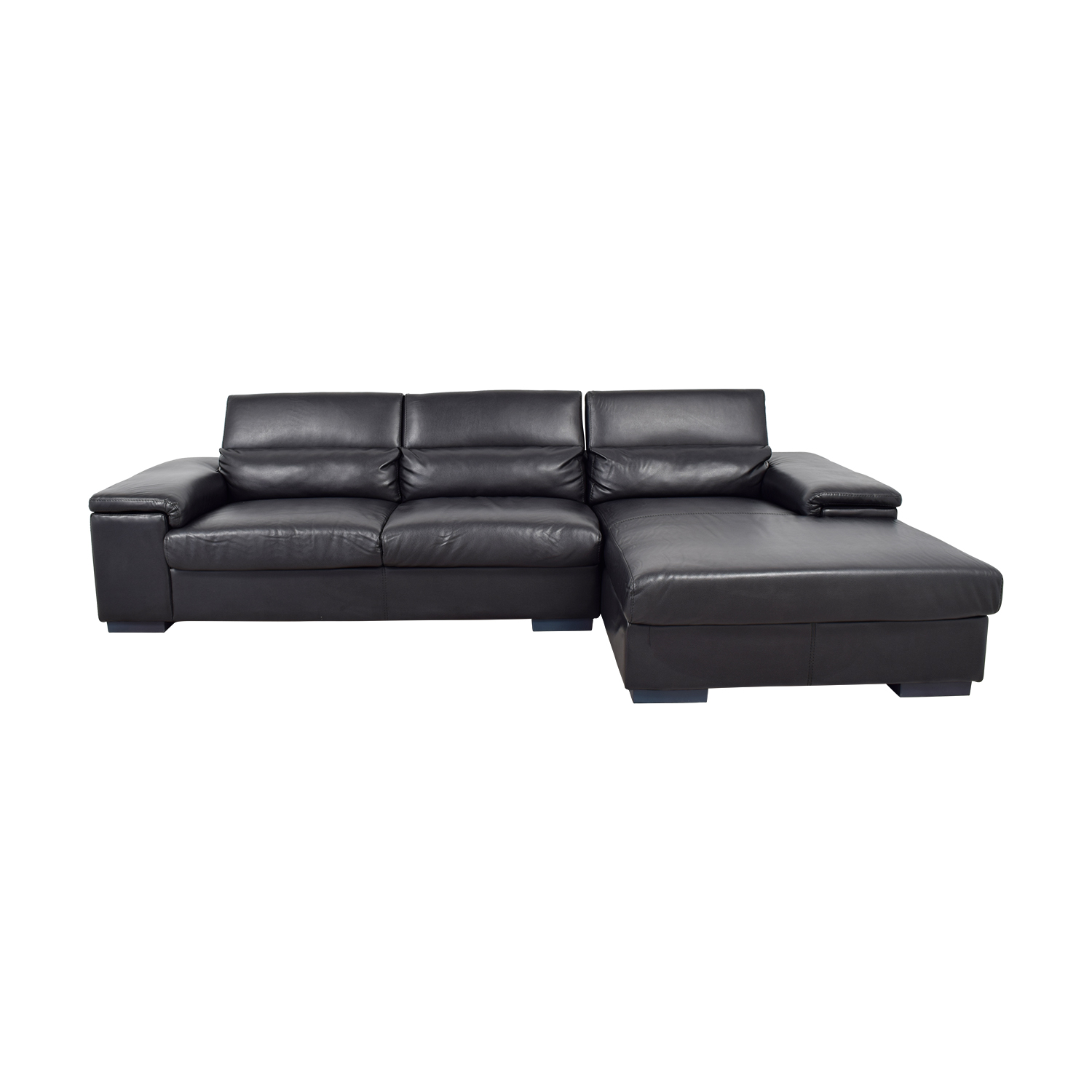 Black Leather Right Chaise Sectional on sale