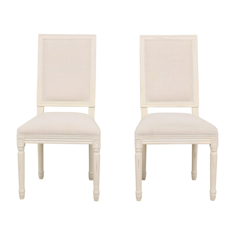 shop Restoration Hardware Vintage White Upholstered Chairs Restoration Hardware