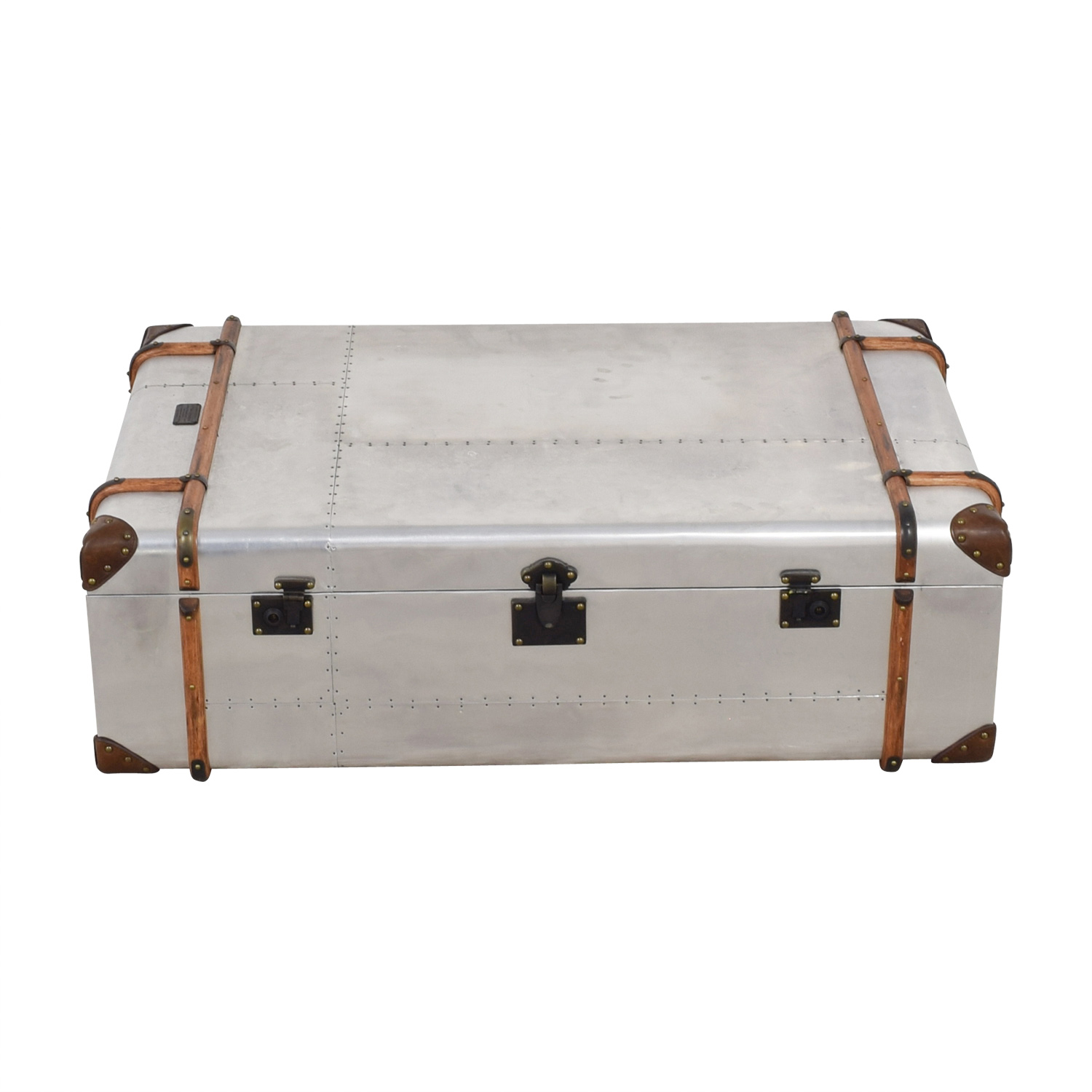 Restoration Hardware Restoration Hardware Richard Trunk Metal and Leather Coffee Table for sale