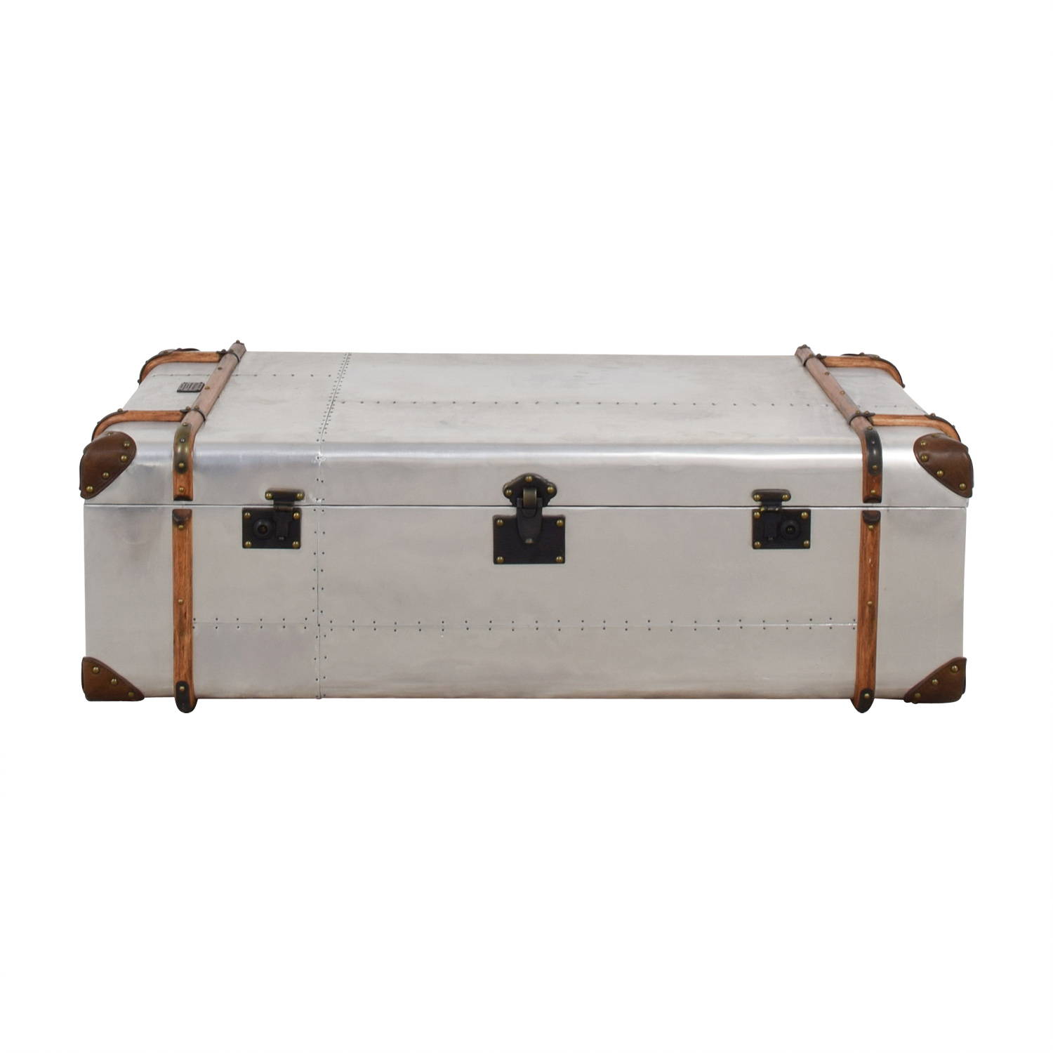 Restoration Hardware Restoration Hardware Richard Trunk Metal and Leather Coffee Table on sale