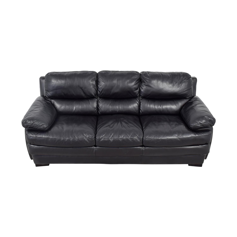 Black Leather Pillowed Arm Sofa Sofas