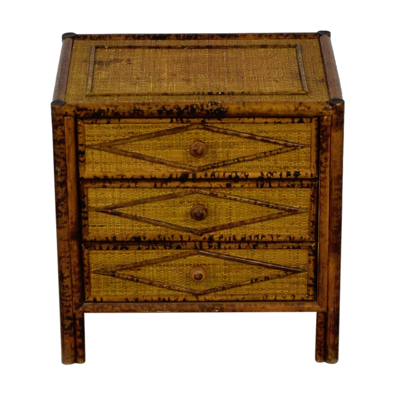 shop Three Drawer Wood and Wicker End Table  Tables