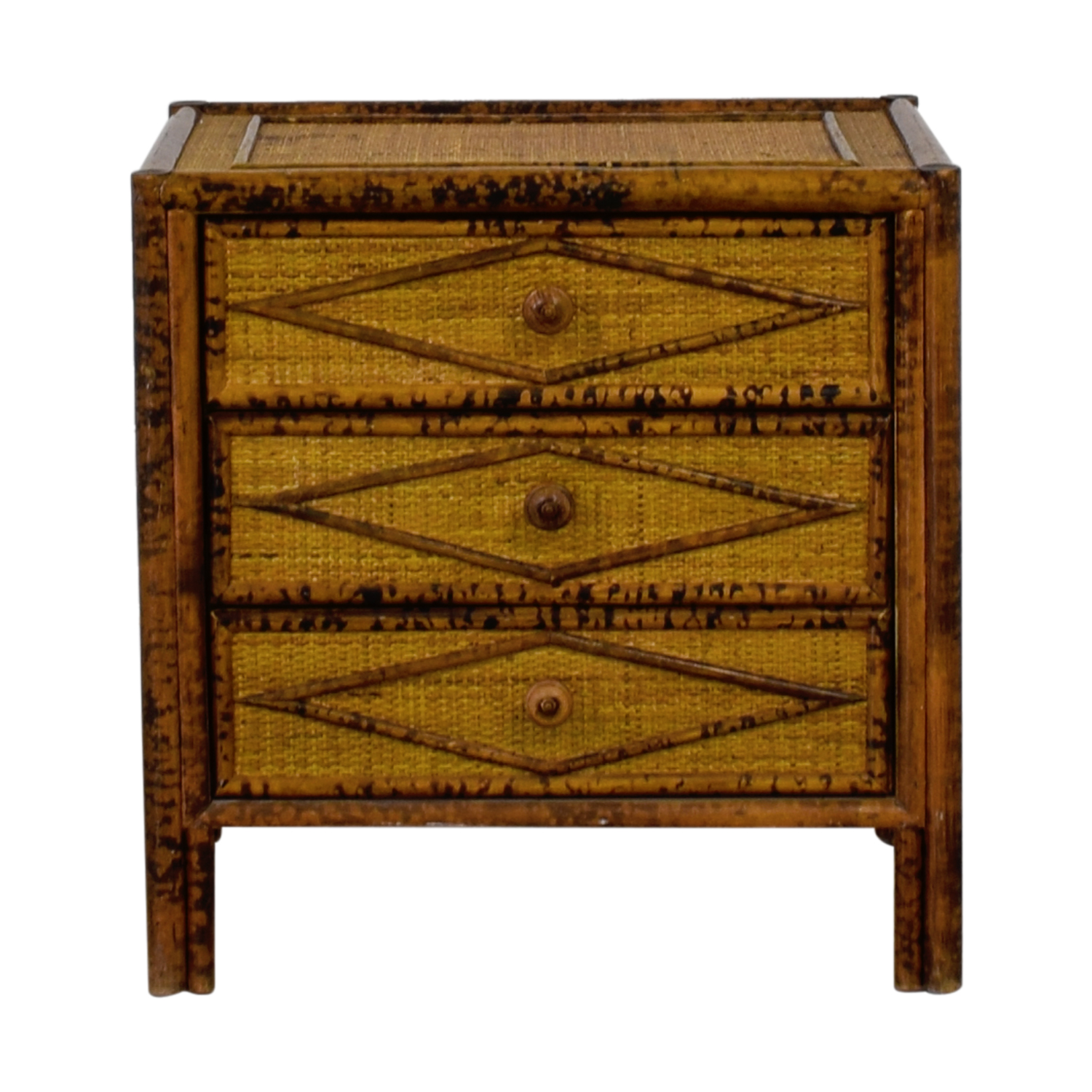 Three Drawer Wood and Wicker End Table price