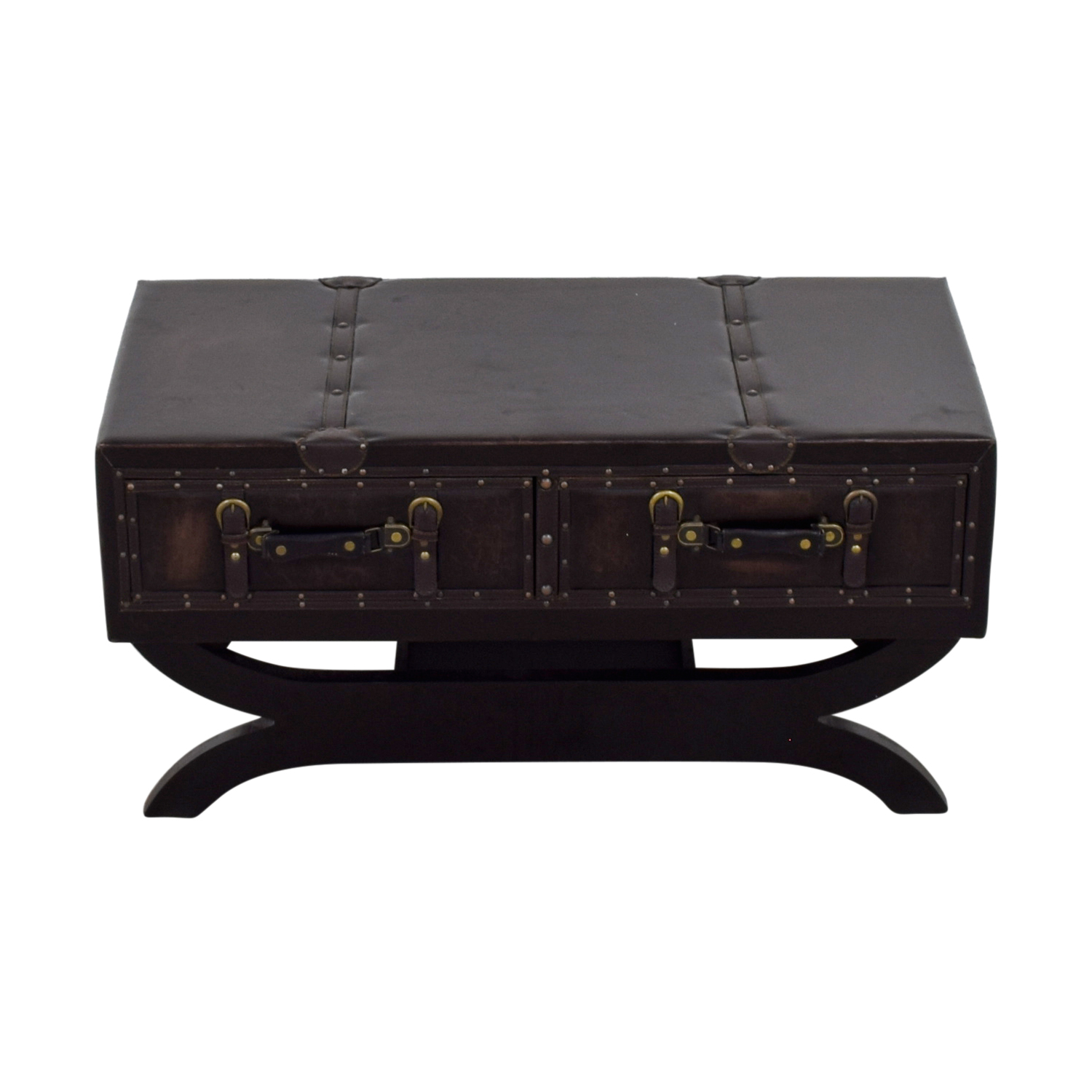 Cole & Grey Cole & Grey Two-Drawer Leather Trunk Coffee Table price