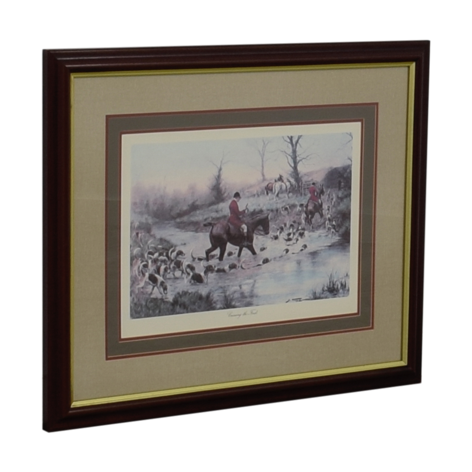 Crossing the Ford Equestrian Framed Print Wall Art