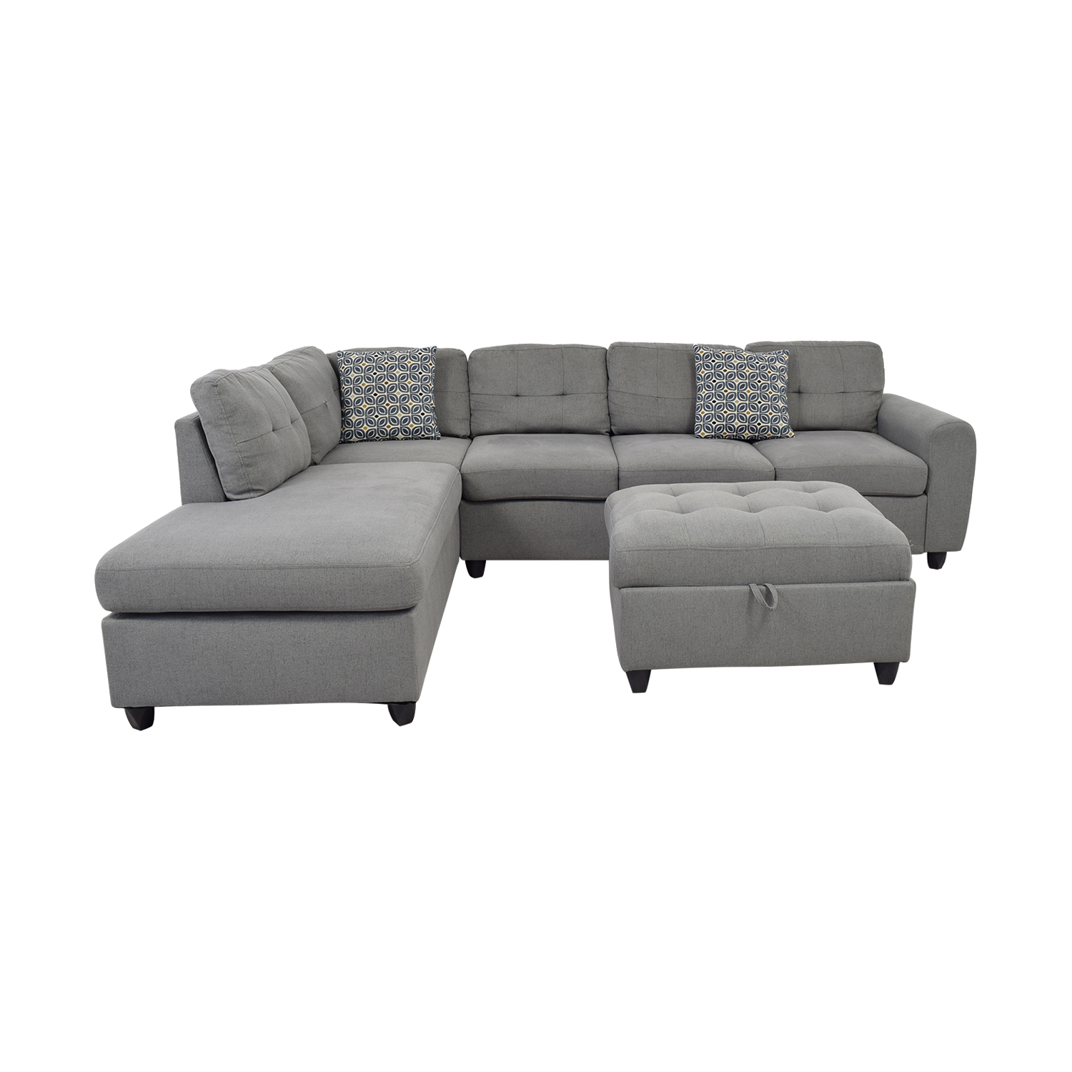 Stonenesse Stonenesse Grey Semi-Tufted Chaise Sectional with Ottoman nj