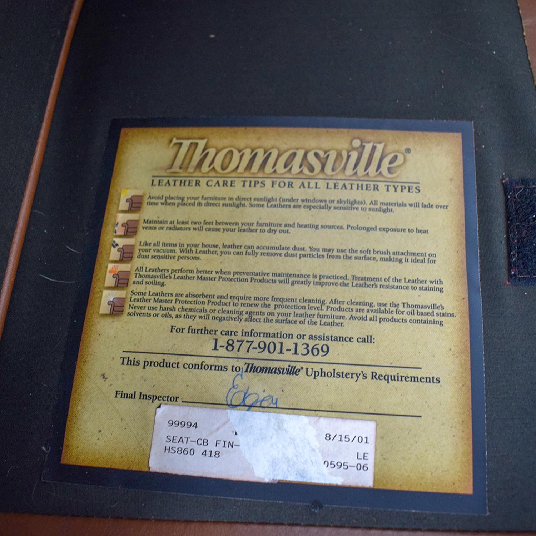 Thomasville Thomasville Brown Leather Three-Cushion Sofa Sofas