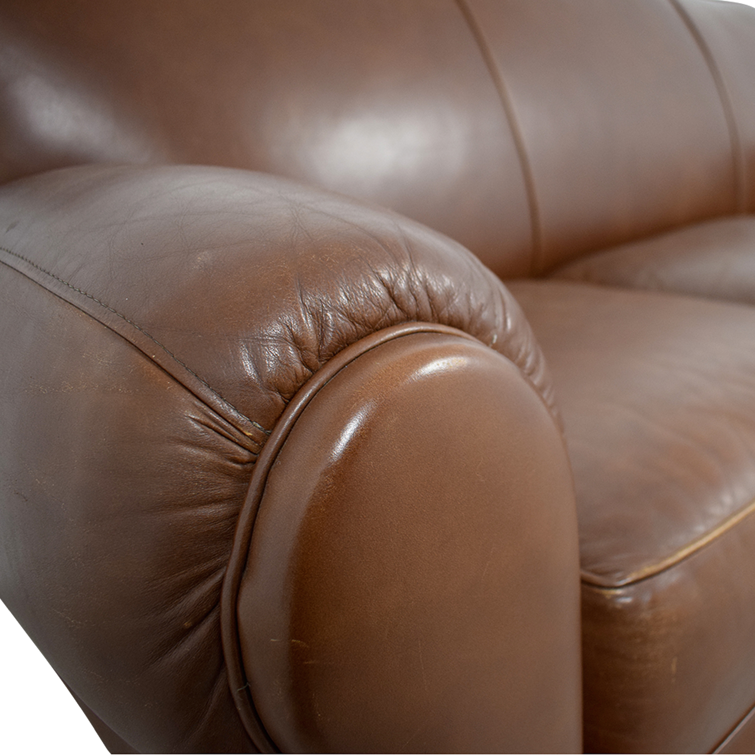 Thomasville Thomasville Brown Leather Three-Cushion Sofa