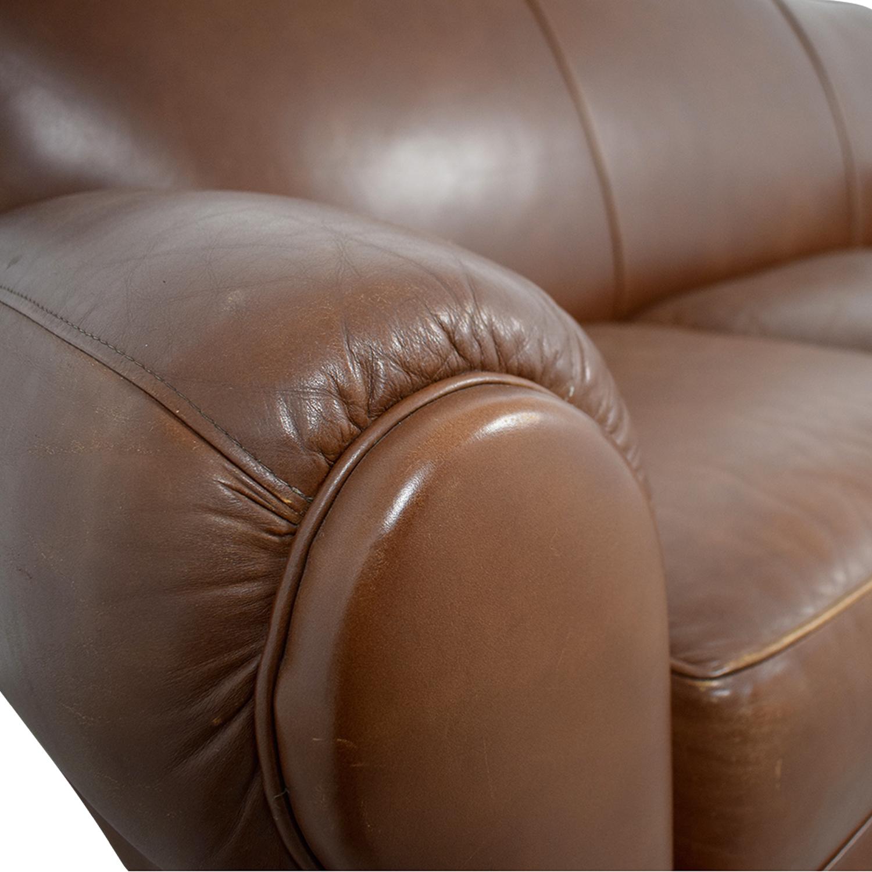 Thomasville Thomasville Brown Leather Three-Cushion Sofa