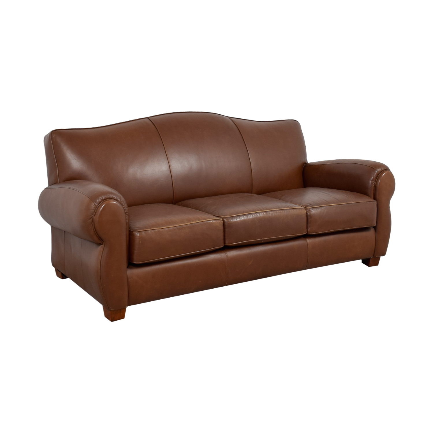 Thomasville Thomasville Brown Leather Three-Cushion Sofa nj