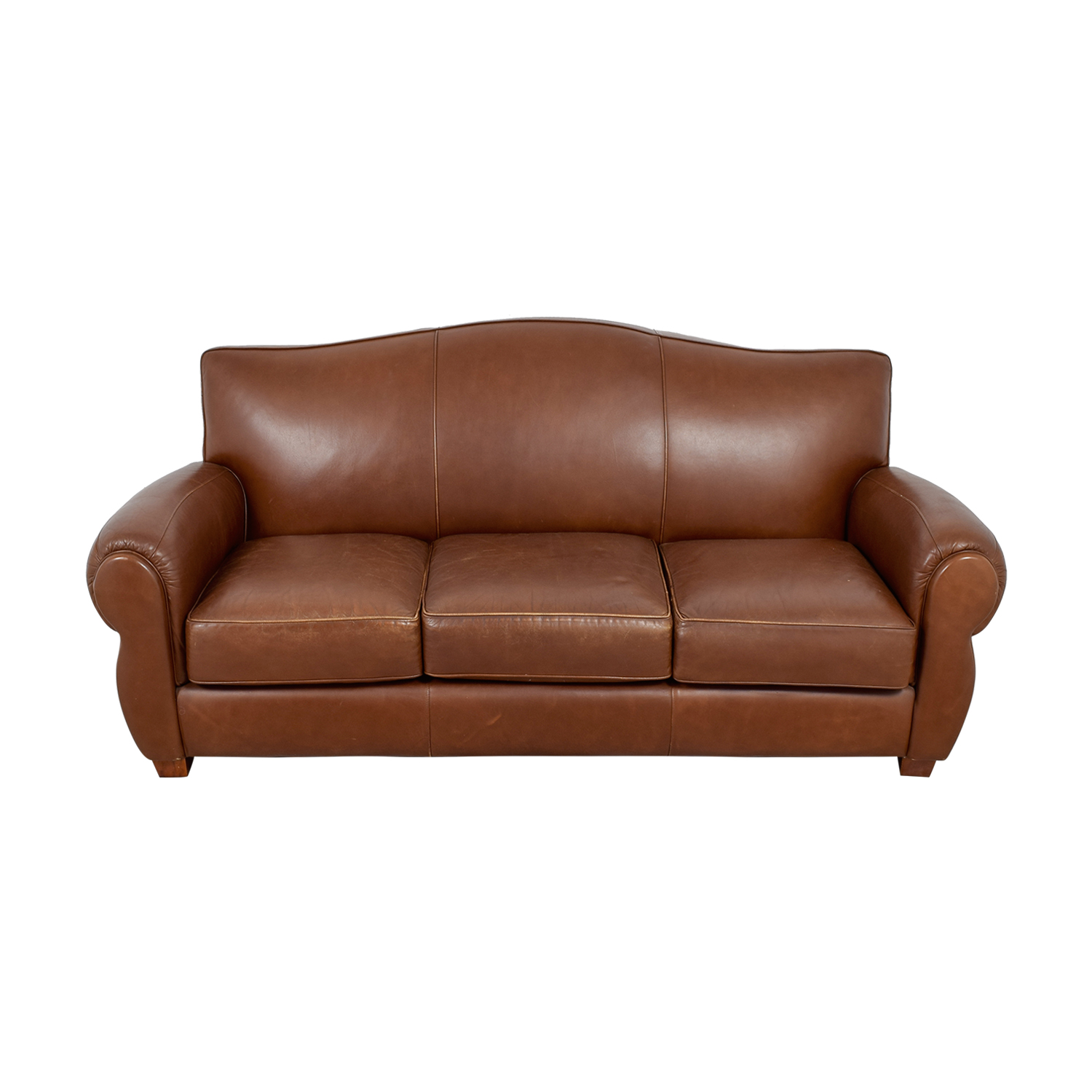 Thomasville Thomasville Brown Leather Three-Cushion Sofa Classic Sofas