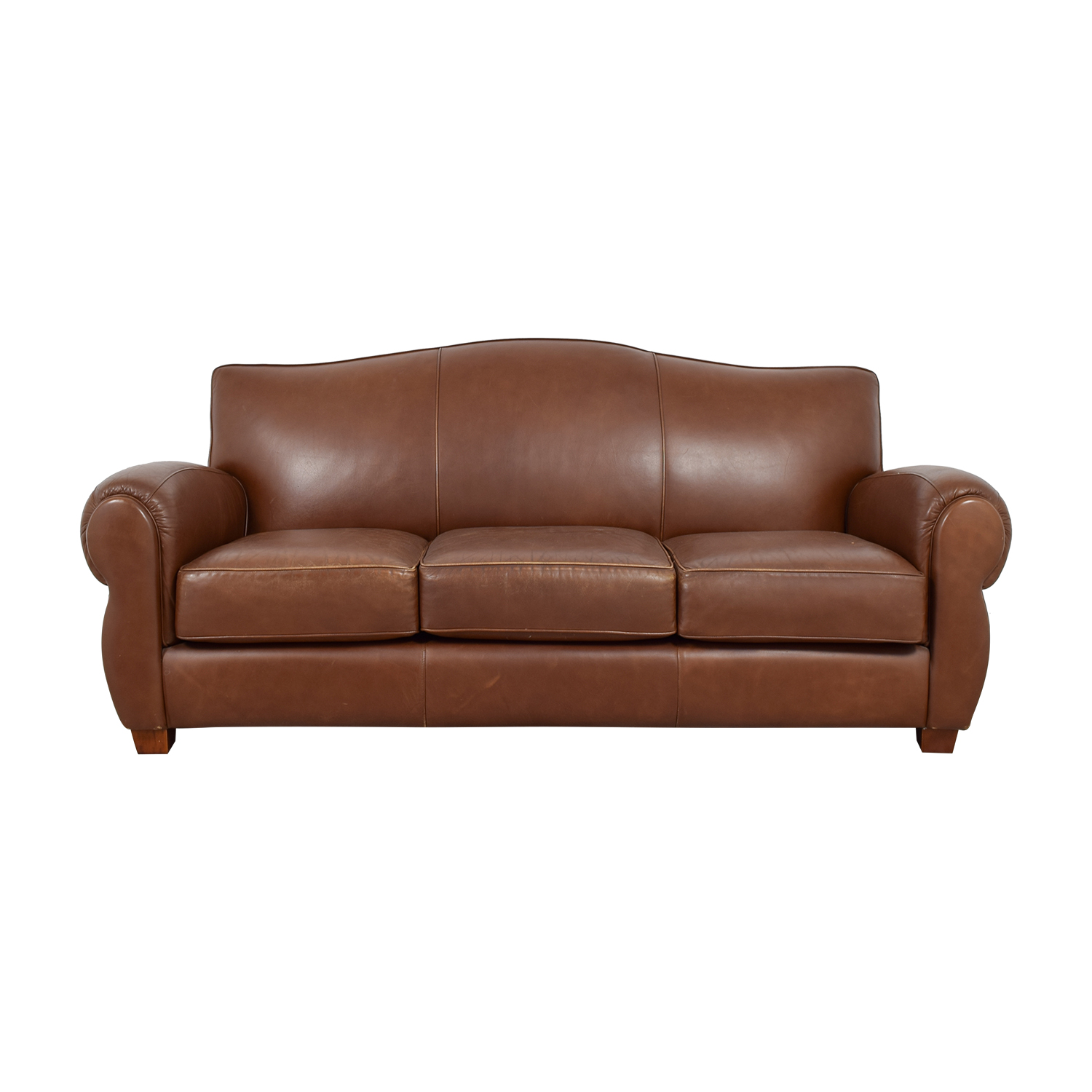 shop Thomasville Brown Leather Three-Cushion Sofa Thomasville