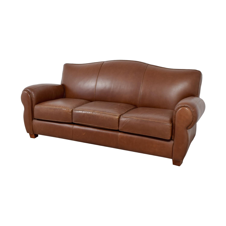 Thomasville Thomasville Brown Leather Three-Cushion Sofa Orange