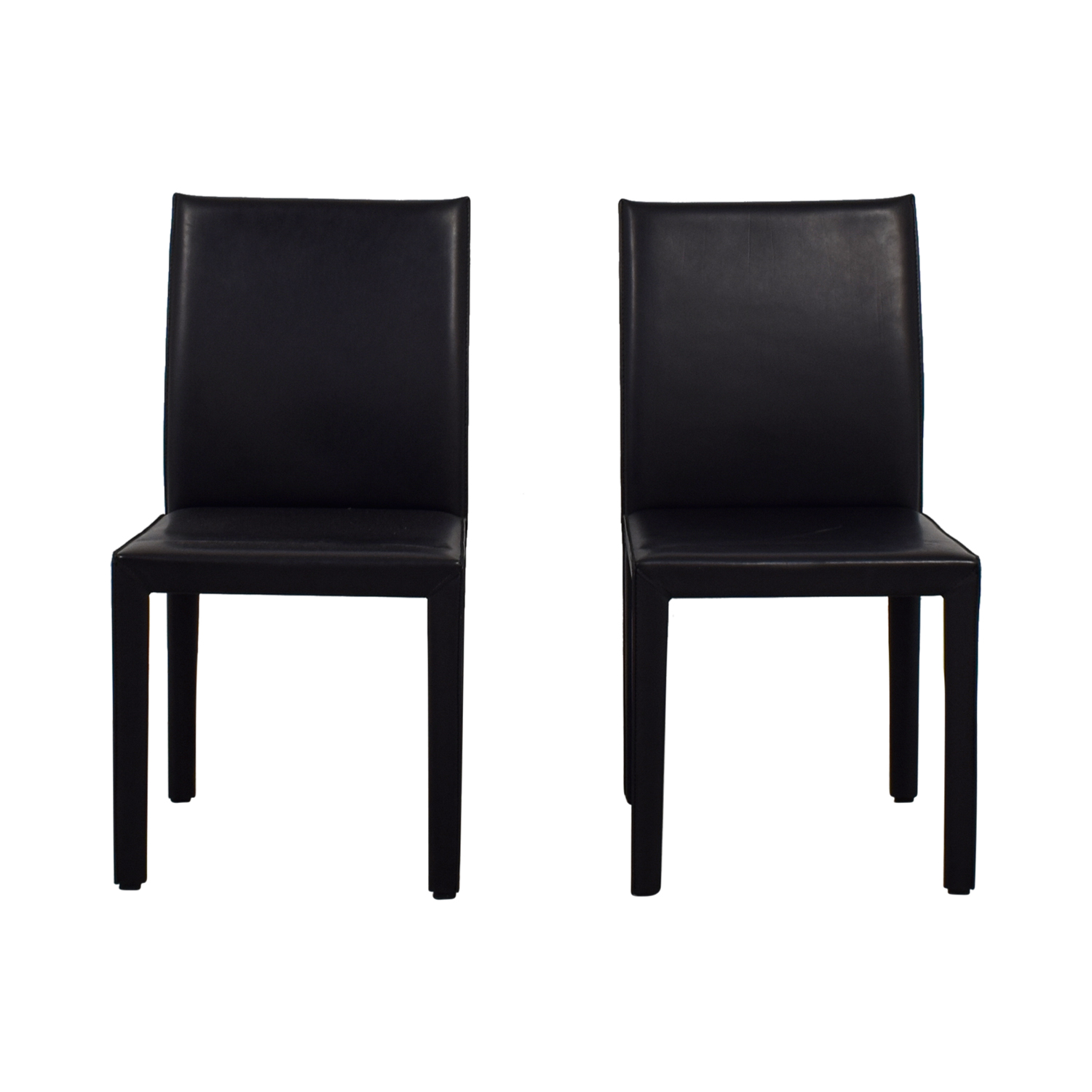 Maria Yee Mondo Black Leather Side Chairs / Dining Chairs