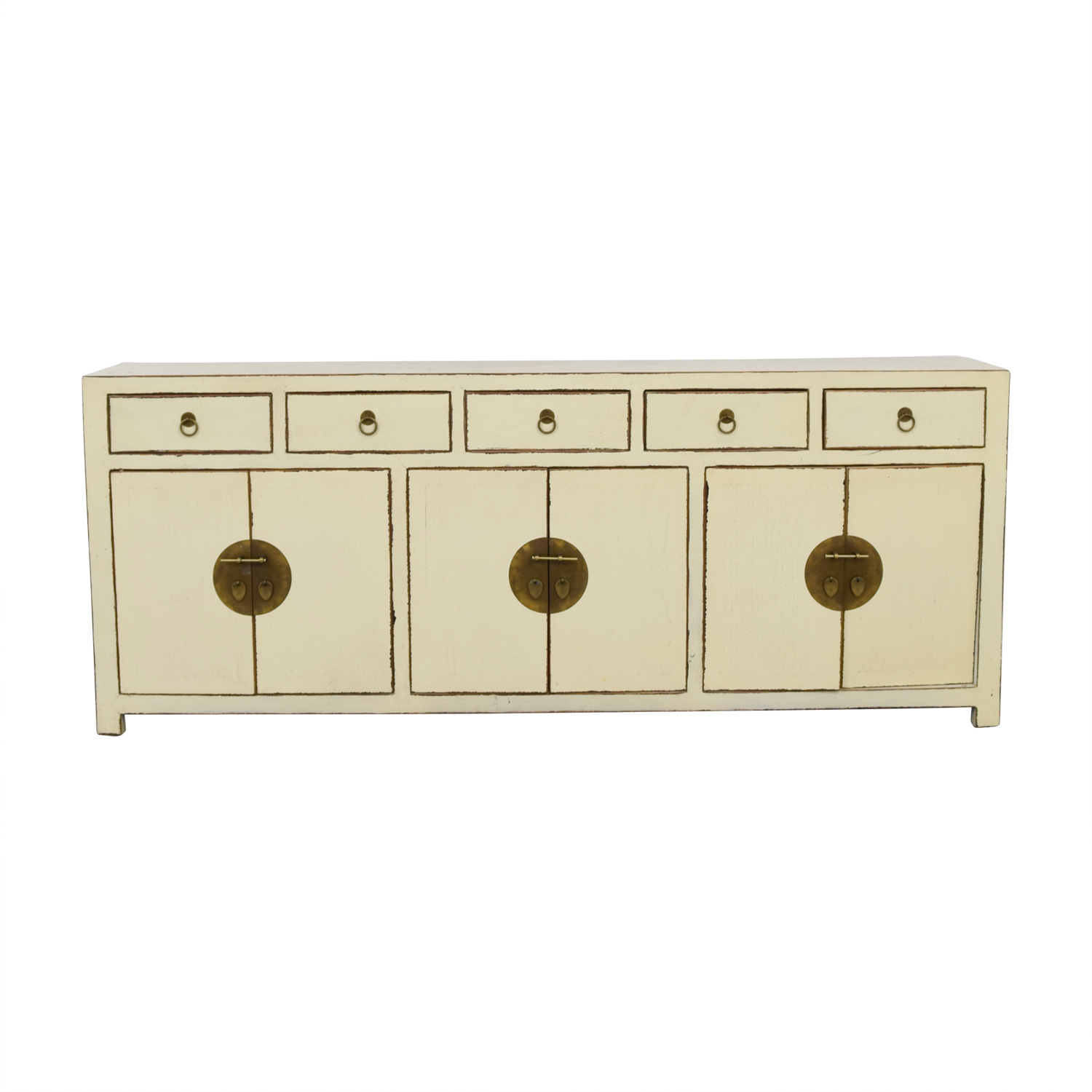 Asian Barn Asian Barn Custom Cream Five-Drawer Sideboard with Shelves Cabinets & Sideboards