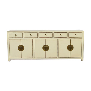 Asian Barn Asian Barn Custom Cream Five-Drawer Sideboard with Shelves price