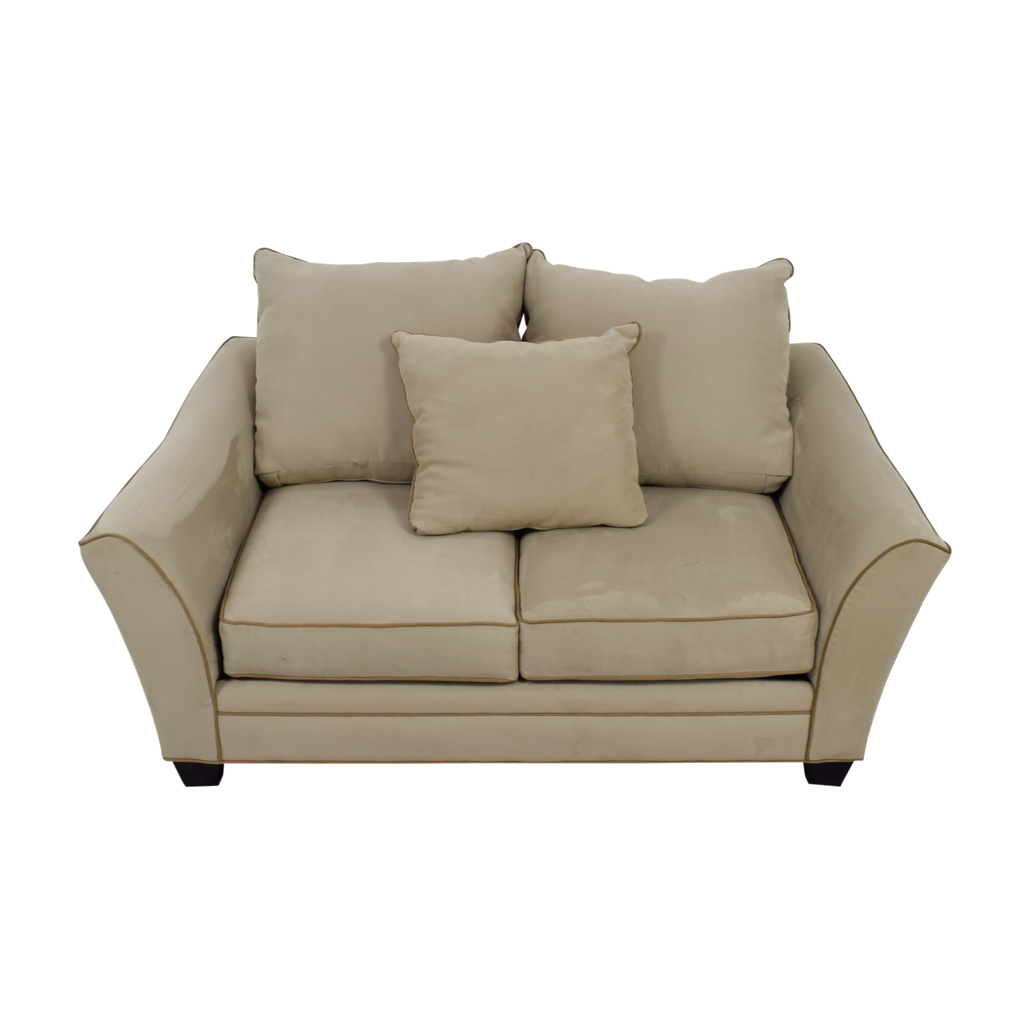 Raymour & Flanigan Raymour & Flanigan Grey and Beige Two-Cushion Loveseat Sofas