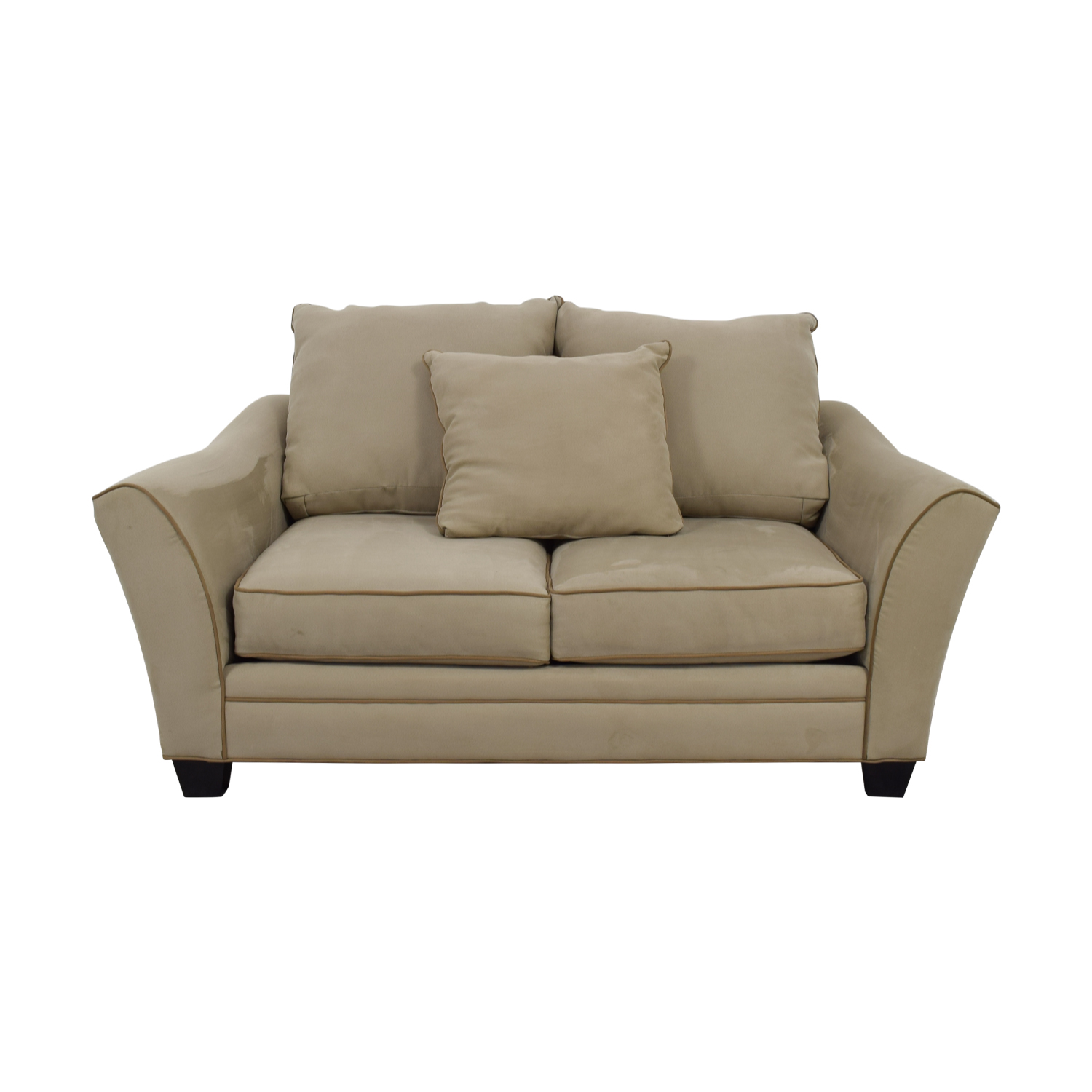 shop Raymour & Flanigan Raymour & Flanigan Grey and Beige Two-Cushion Loveseat online