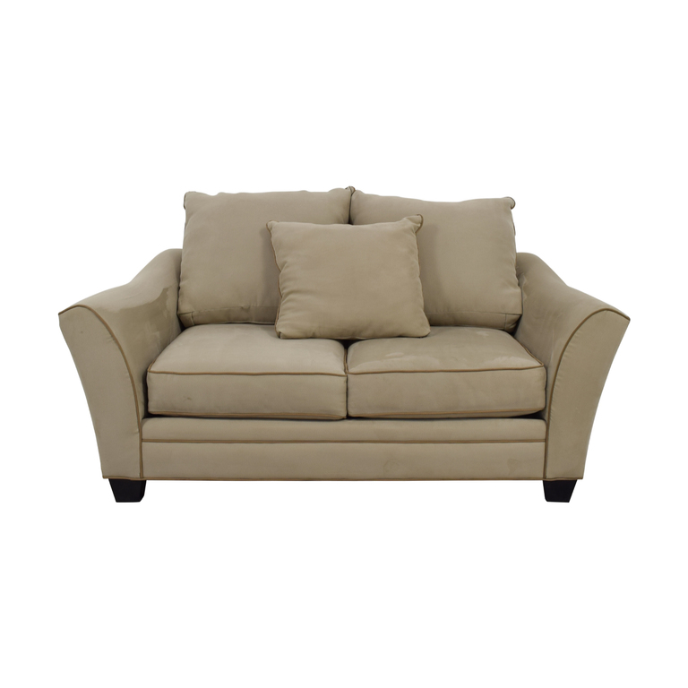 Raymour & Flanigan Raymour & Flanigan Grey and Beige Two-Cushion Loveseat nyc