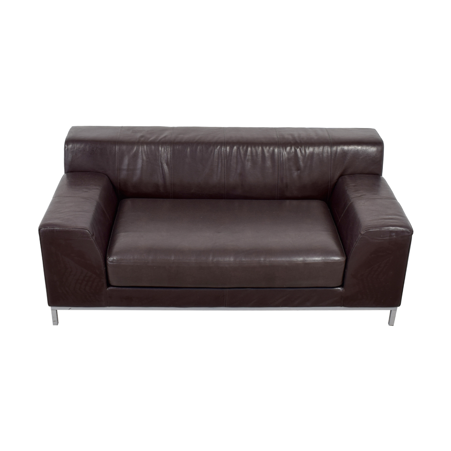 IKEA Kramfors Brown Leather Love Seat / Sofas