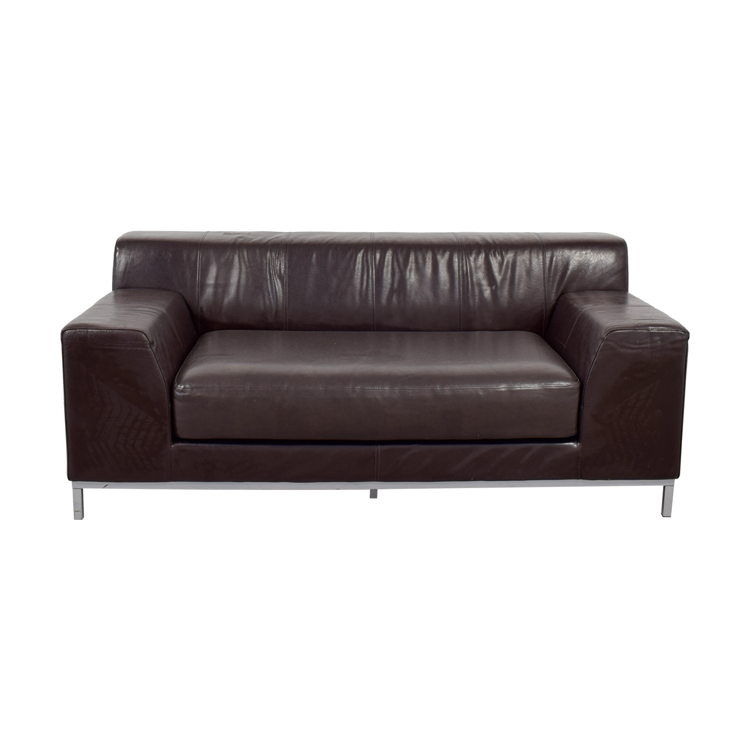 Incredible 90 Off Ikea Ikea Kramfors Brown Leather Love Seat Sofas Download Free Architecture Designs Scobabritishbridgeorg