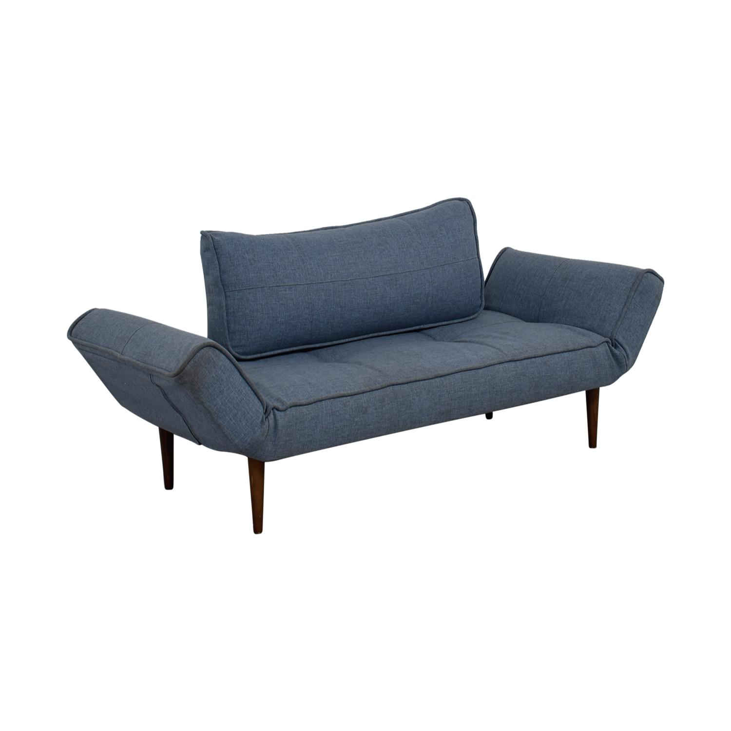 buy Blue Single Cushion Futon With Back Pillow  Sofas