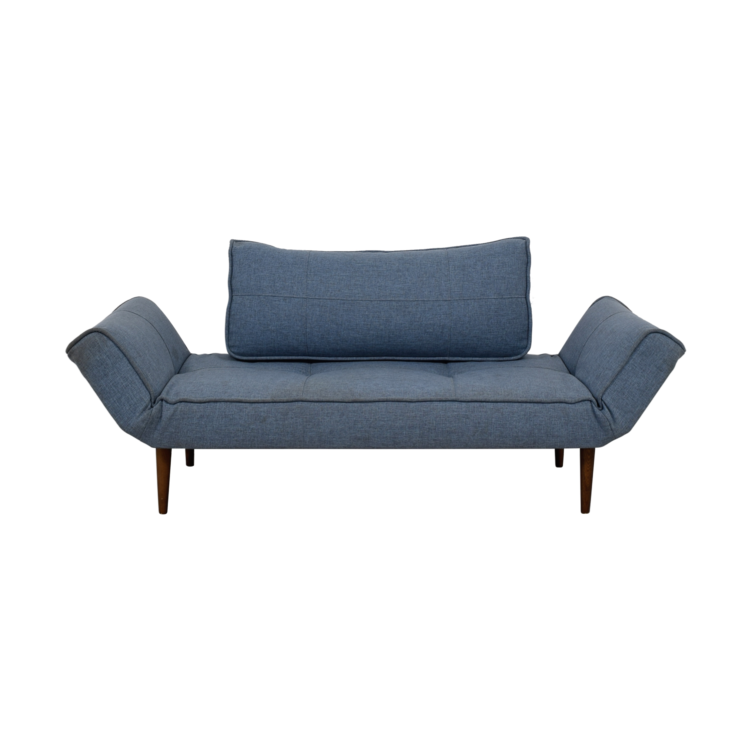 Blue Single Cushion Futon With Back Pillow Blue