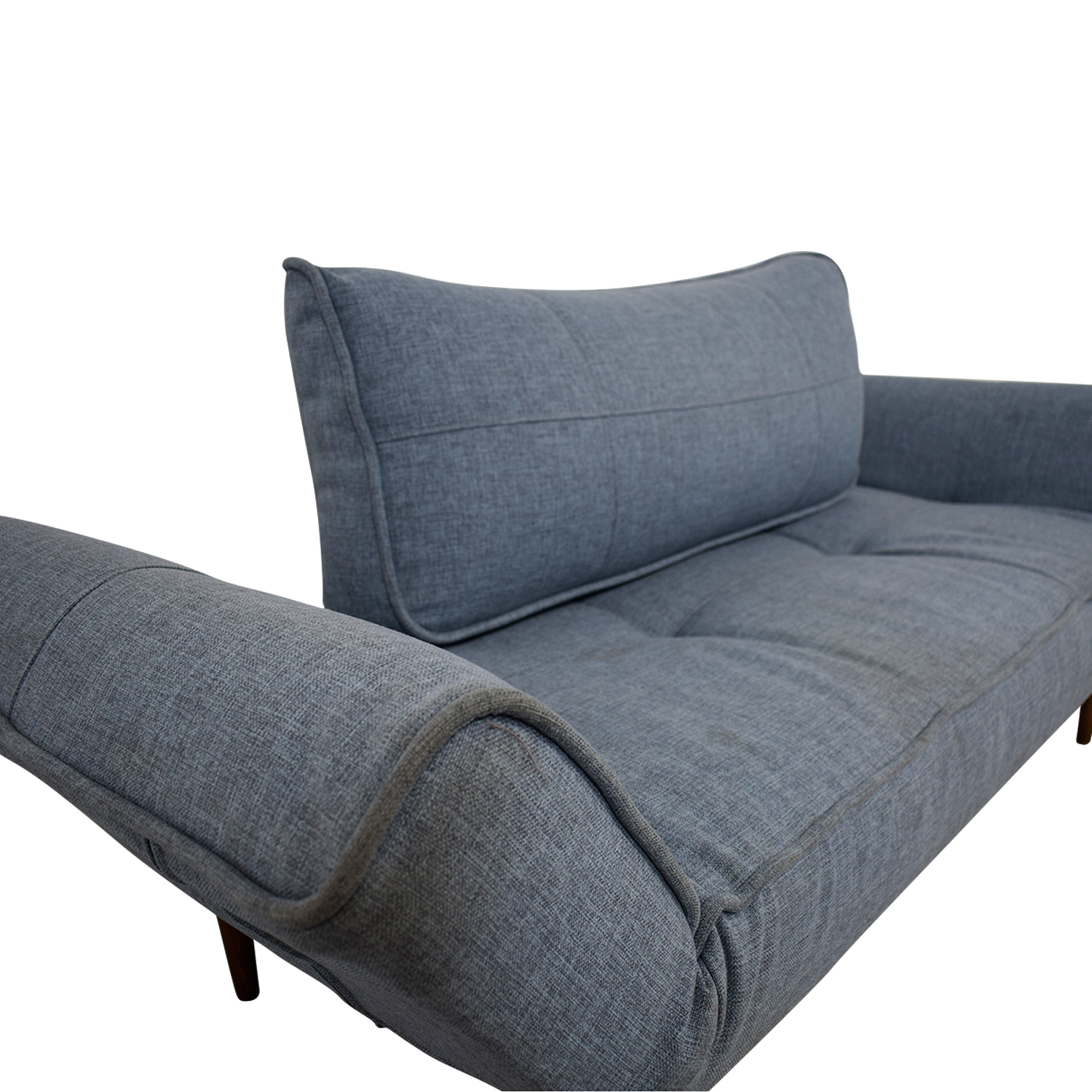 Blue Single Cushion Futon With Back Pillow / Sofas