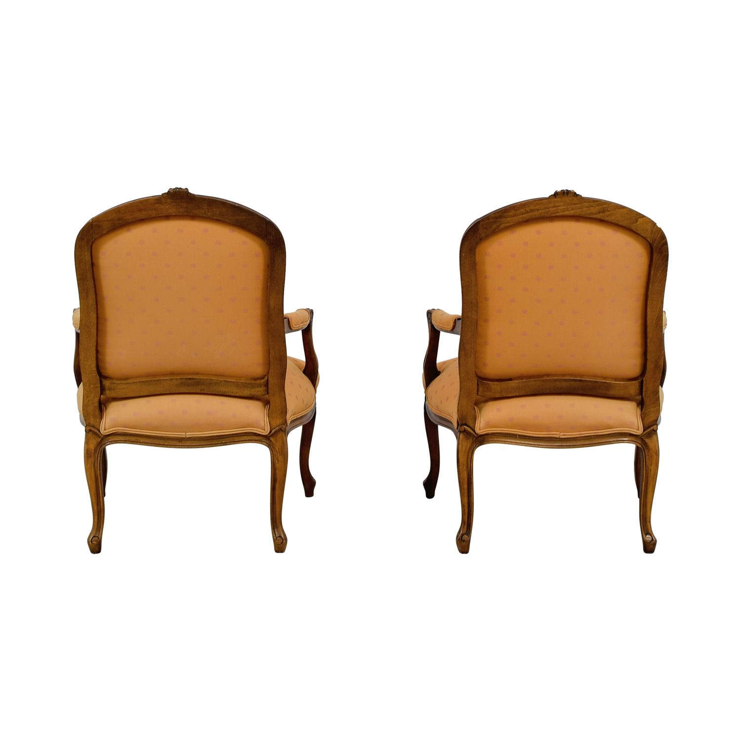 Mid-Century Orange Upholstered Arm Accent Chairs sale