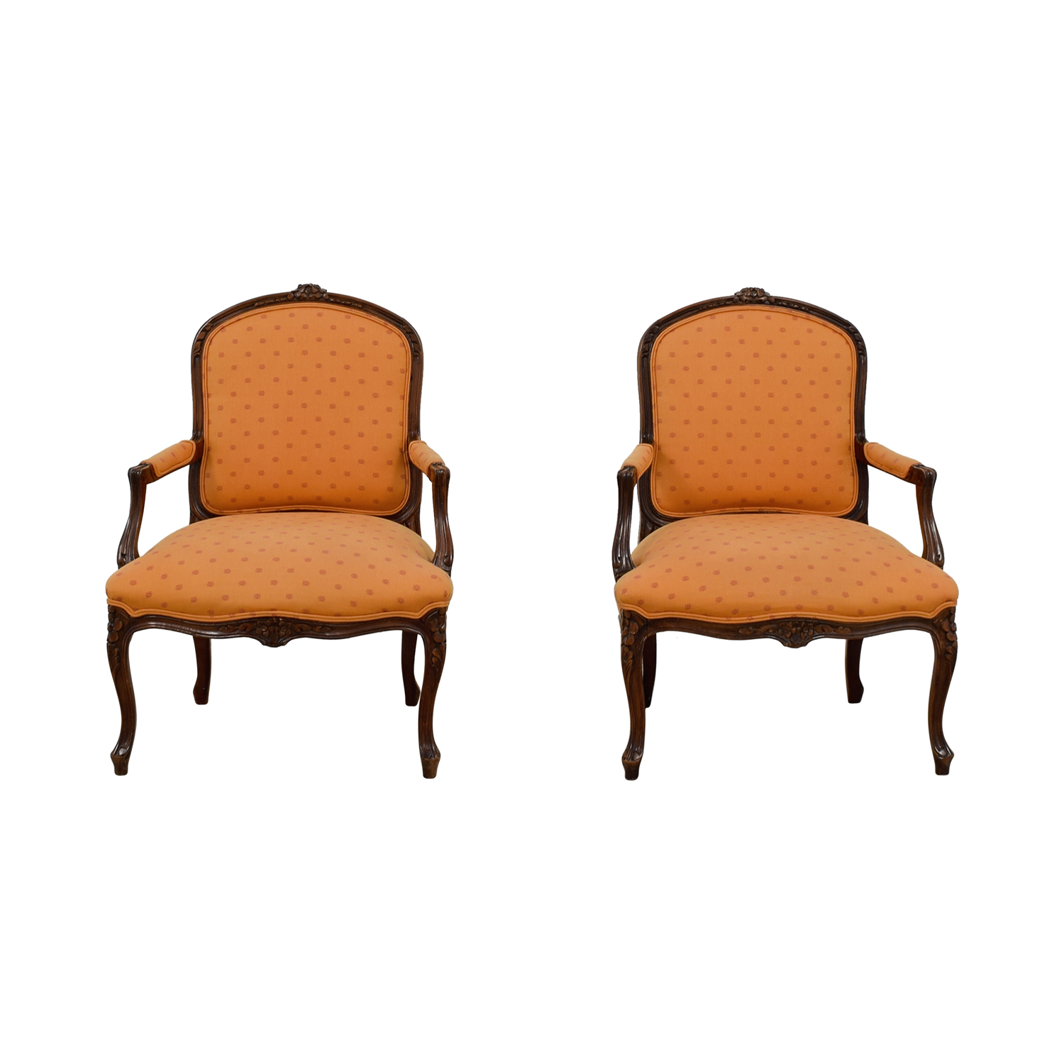 Mid-Century Orange Upholstered Arm Accent Chairs / Chairs