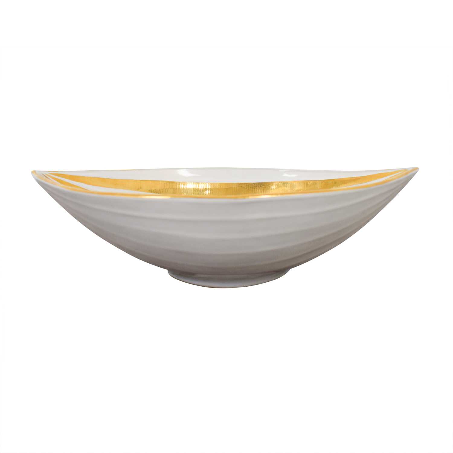 Jonathan Adler Jonathan Adler Gold and White Glazed Ceramic Bowl Decor