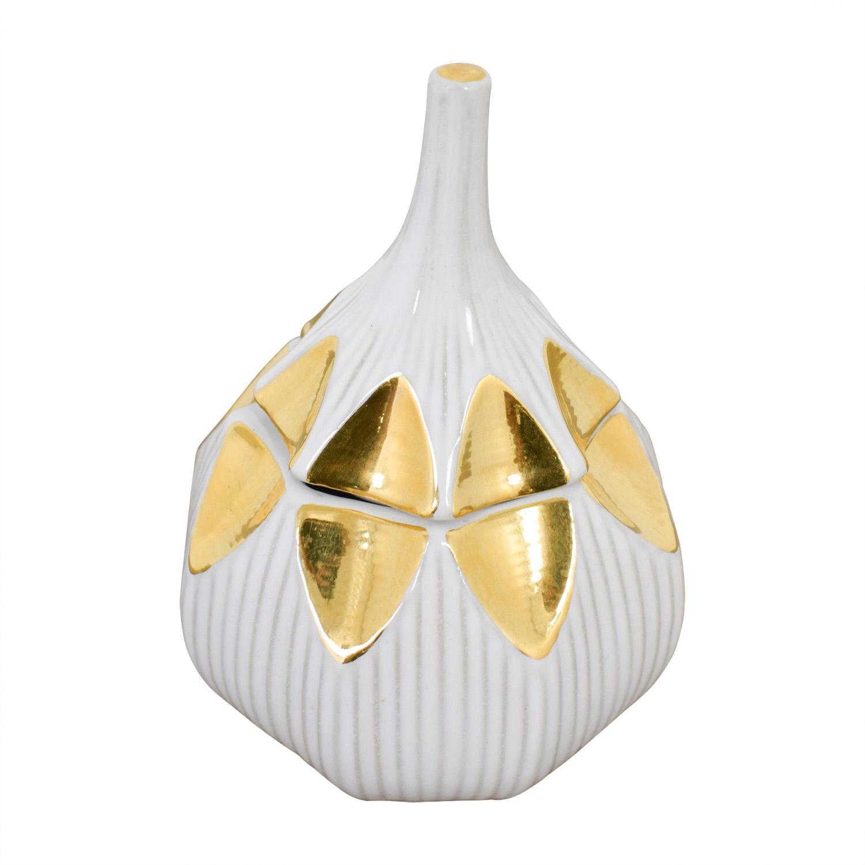Jonatha Adler Jonathan Adler Gold and White Glazed Ceramic Container