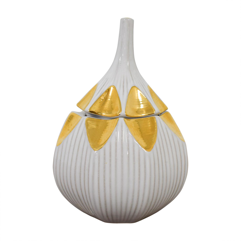 Jonathan Adler Gold and White Glazed Ceramic Container sale