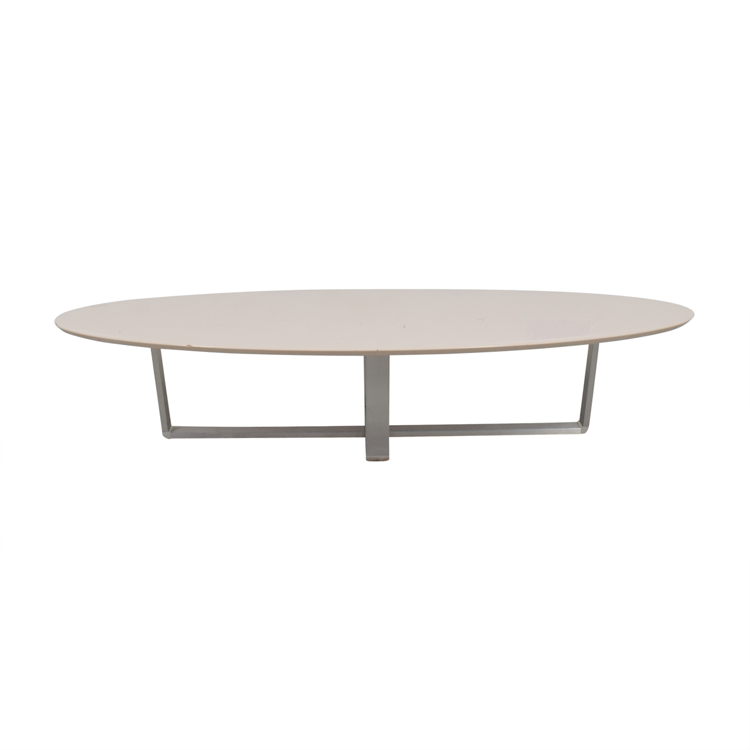 Argo Furniture Argo Furniture White Lacquer Oval Coffee Table used
