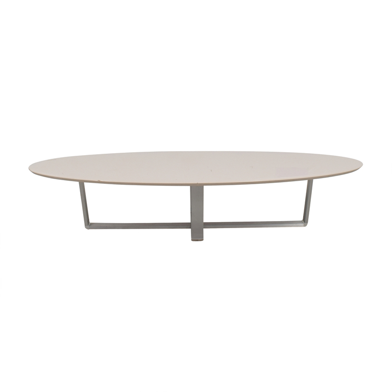 Argo Furniture Argo Furniture White Lacquer Oval Coffee Table nyc