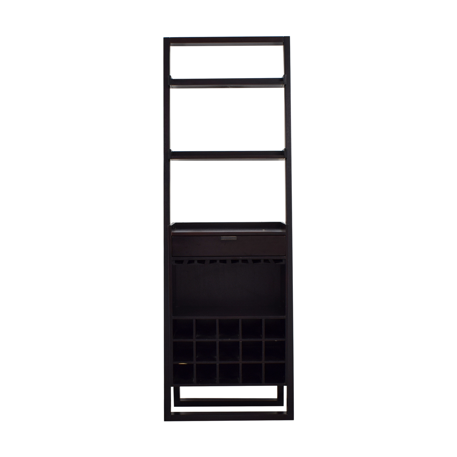 Crate & Barrel Crate & Barrel Berry Leaning Shelves and Single Drawer Bar Dark Cherry