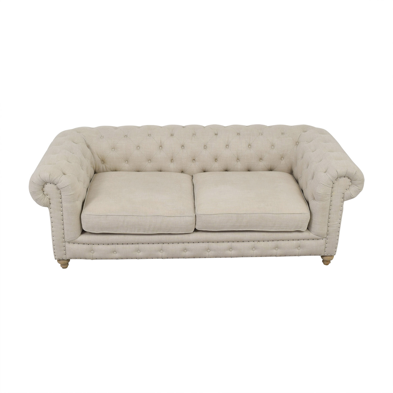One Kings Lane One Kings Lane Chesterfield Beige LinenTufted Sofa dimensions
