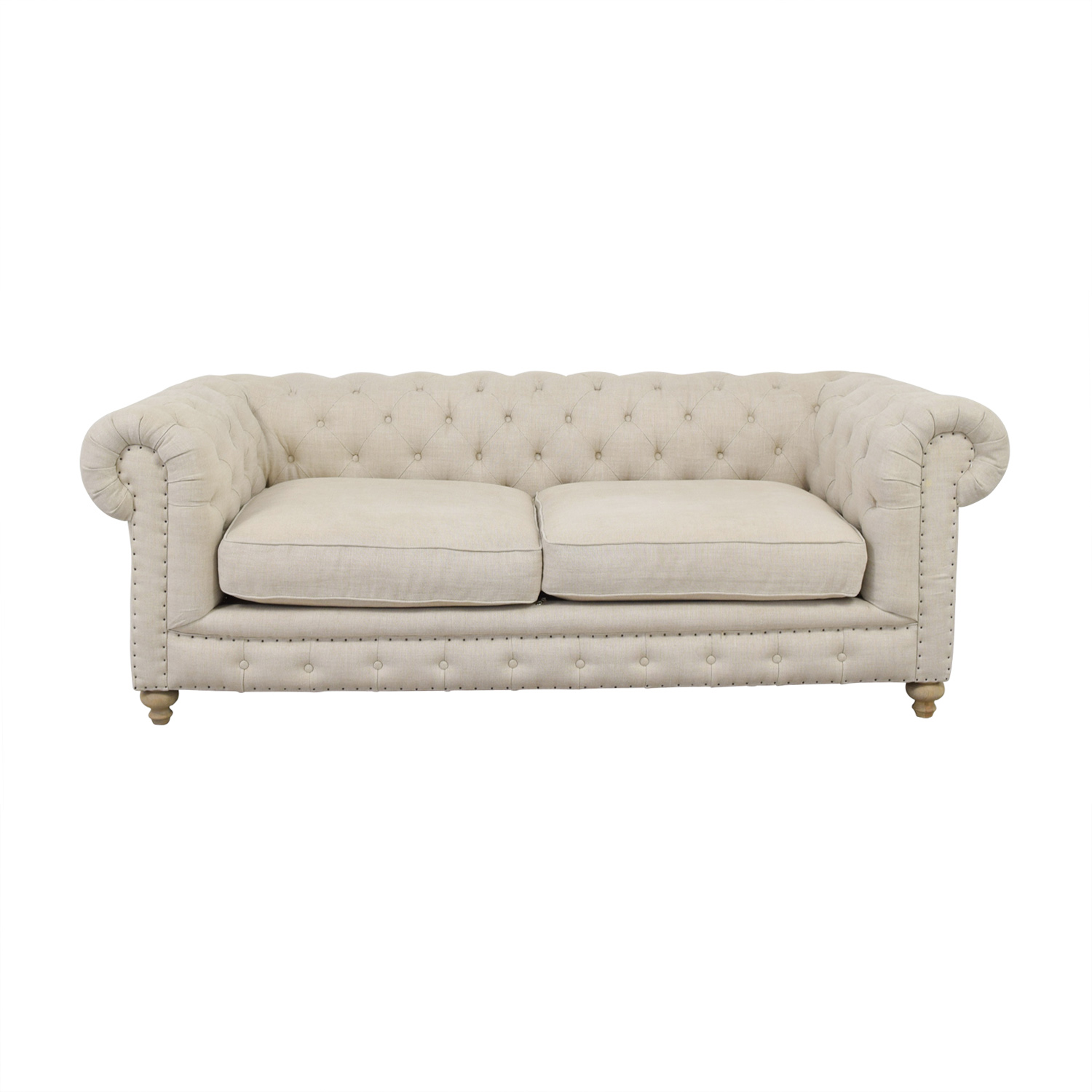 shop One Kings Lane Chesterfield Beige LinenTufted Sofa One Kings Lane